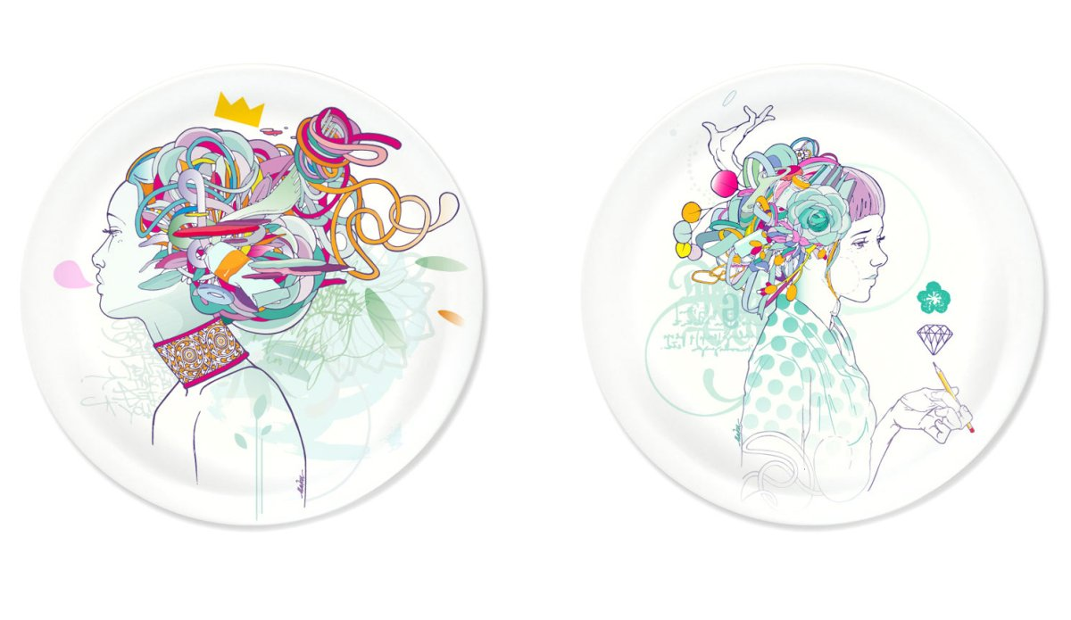 Pratos com ilustrações de Mateu Velasco