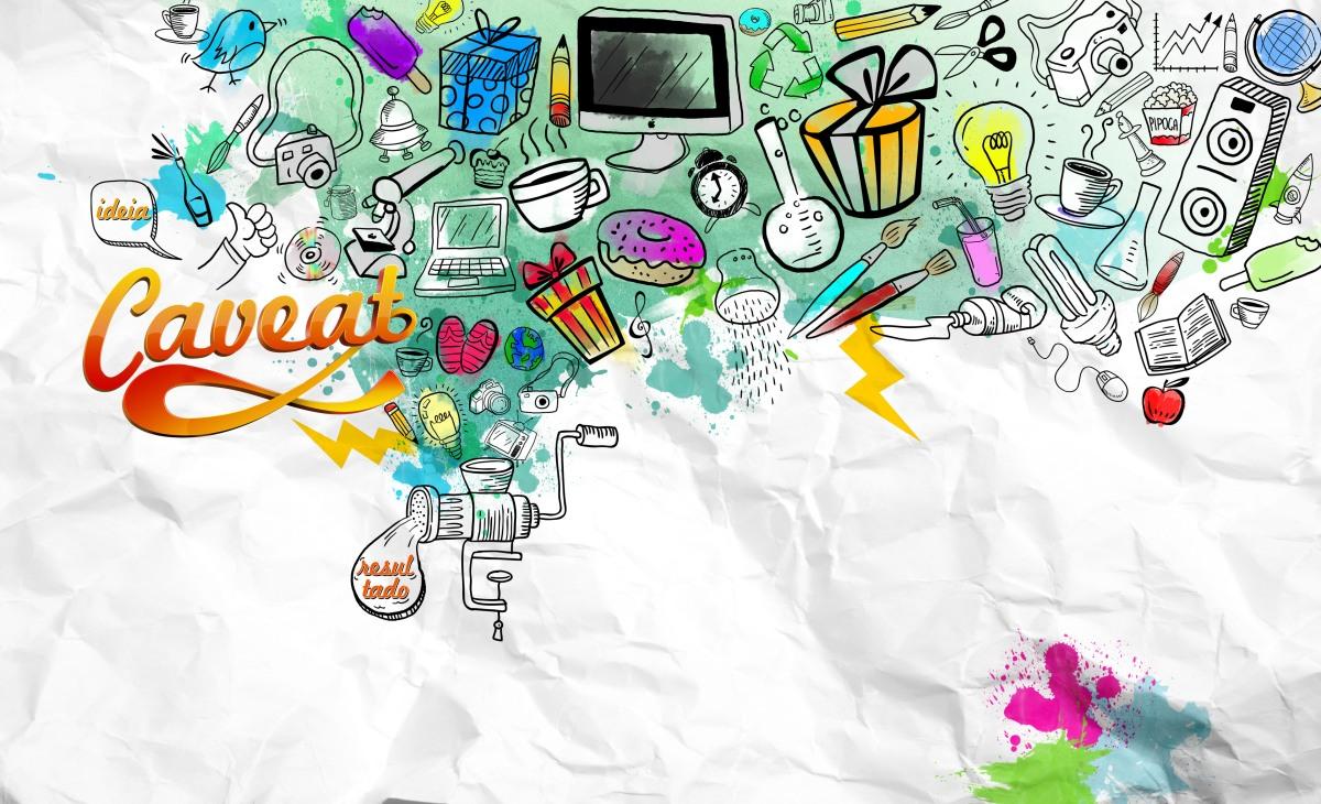 Ilustração com doodles para a parede da agência