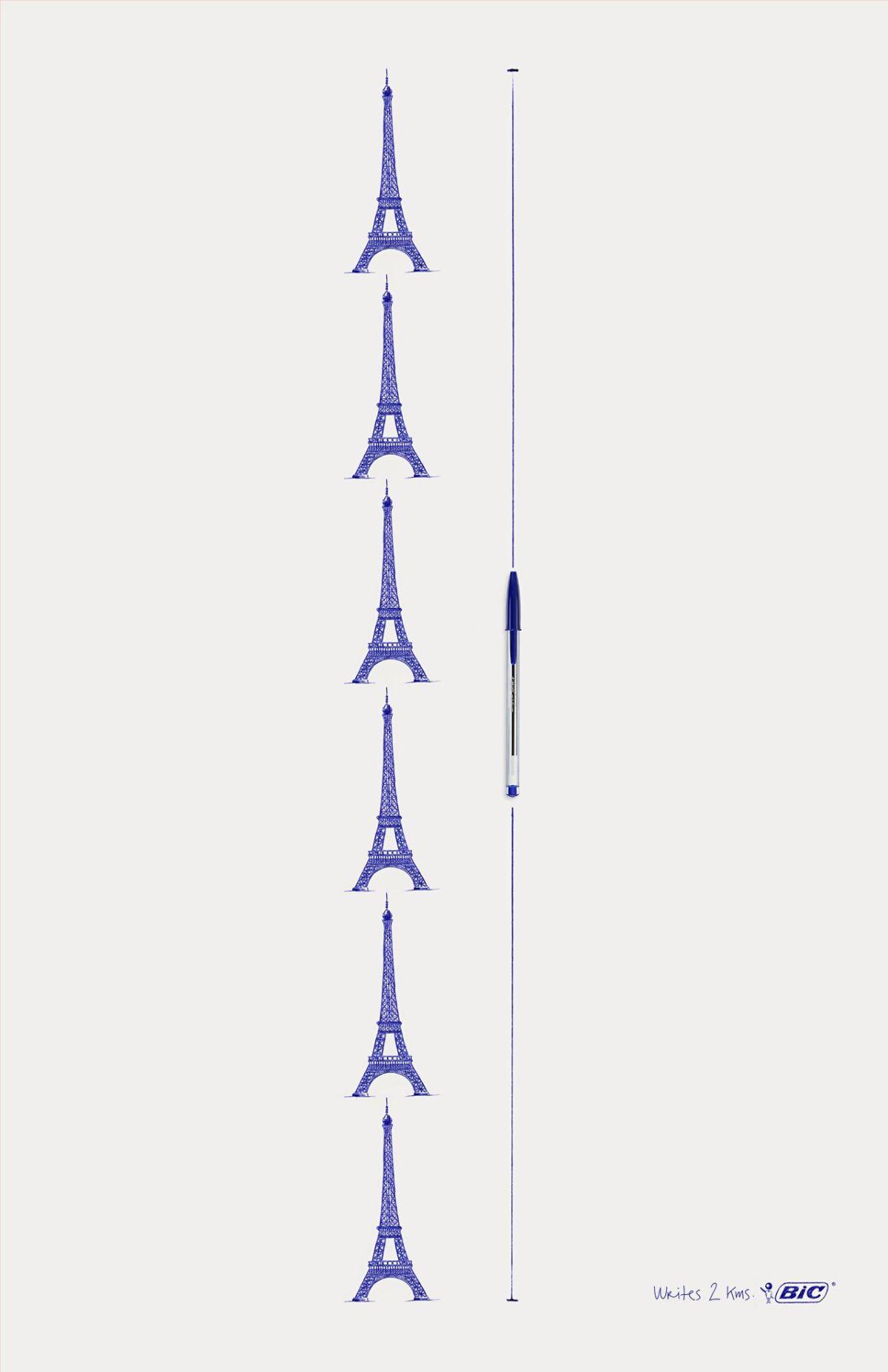 Anuncio Torre Eiffel Bic