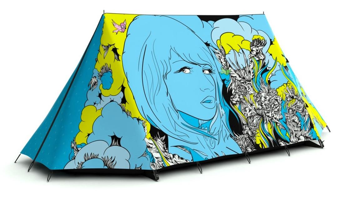 Barraca com ilustração de Dreams of Grandeur