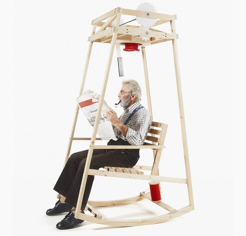 Cadeira de balanço Rocking Knit criada por Damien Ludi e Colin Peillex