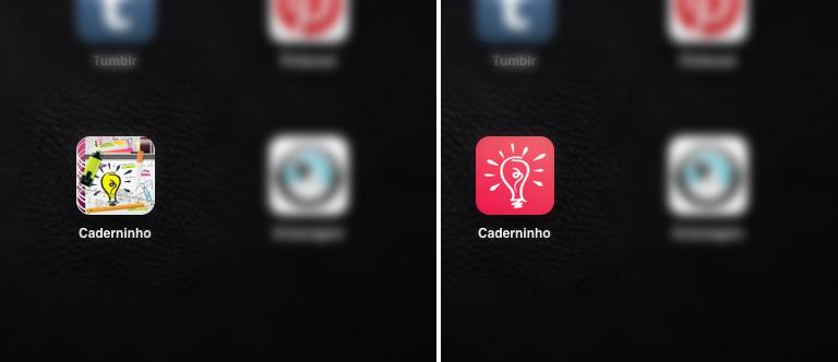 Ícone no iPad antes e depois :)
