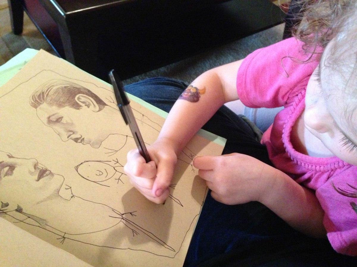 A filha de Angela dá seu toque a uma ilustração da mãe