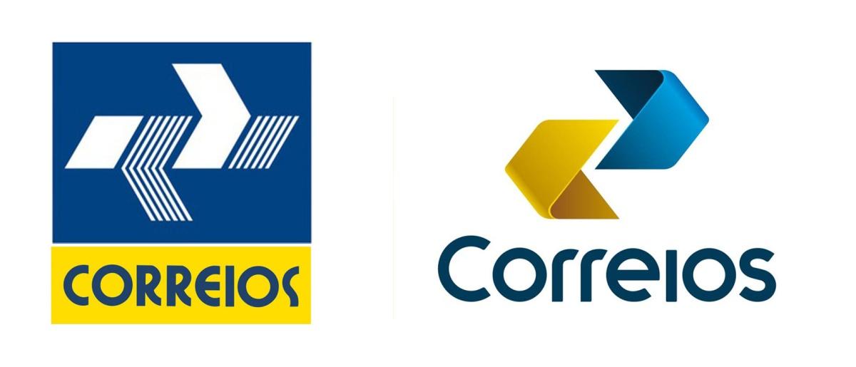 Logo antigo (esq.) aplicado à identidade visual criada em 1990; e o logo e símbolo novos