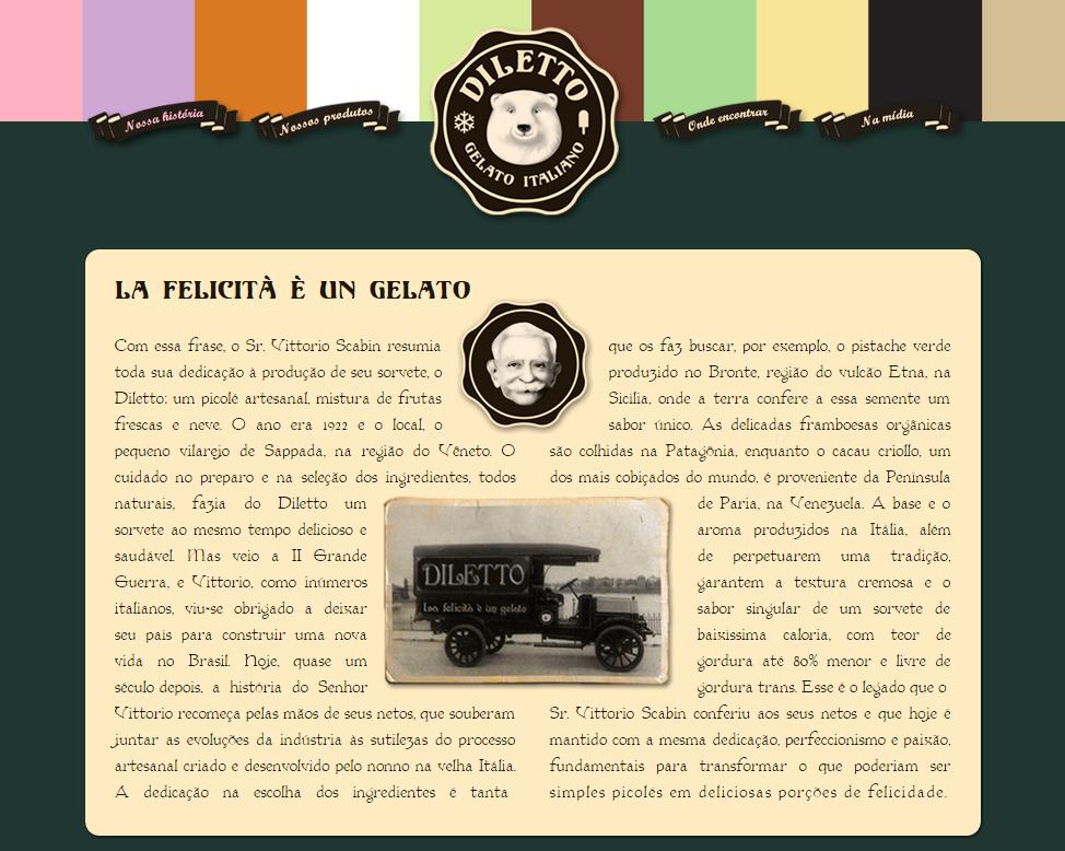 """""""História"""" da Diletto, publicada no site e nas embalagens e campanhas do sorvete"""