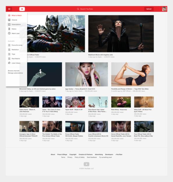A homepage é modular e destaca imagens ao invés de textos