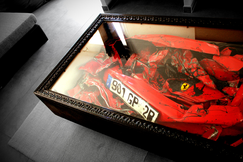 Charly-Molinelli-Crashed-Ferrari-Table-H