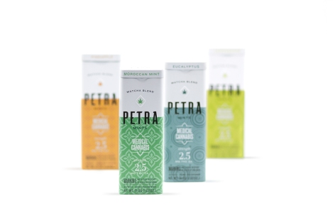 Packaging design for Petra, a cannabis-infused mint from Kiva Confections